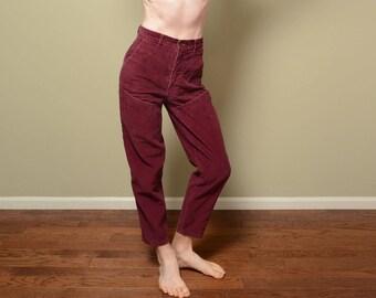 vintage 80s burgundy corduroy pants high waist baggy taper 1980 Bottom Gear high rise 1980 baggy pants 28 waist vtg size 11 mom jeans