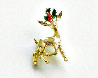 Vintage Gerrys Christmas Pin, Holiday Pin, Reindeer Pin, Vintage Holiday Brooch, Gold Red & Green Pin.