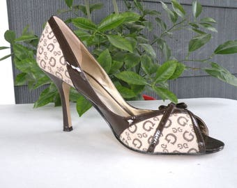 Guess High Heel Shoe Size 8 M Brown Designer Shoe Brown Cut Out Toe Patent Leather Brown Party Shoe Brown Elegant Shoe Brown Dress Up Shoe