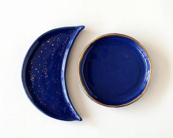 Blue moon ring dish - cobalt blue ceramic crescent moon plate with 24K gold stardust - pottery ring holder