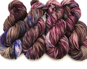 "Oscar Worsted , Hand Dyed Yarn, Superwash merino, worsted weight, multicolored yarn, Quinn""I'm violent now"""