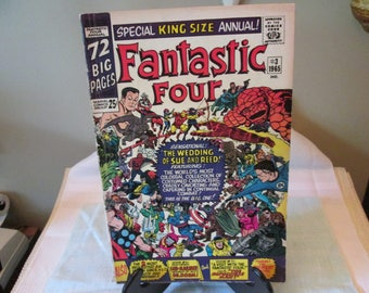 Vintage Comic Book Fantastic Four Number 3, 1965, Marvel Comic Book, Comic Book Collector, The Wedding of Sue and Reed