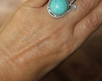 Hamsa ring, silver ring, large Hamsa ring, custom rings, evil eye ring, Hamsa charm, evil eye charm, adjustable ring, turquoise ring