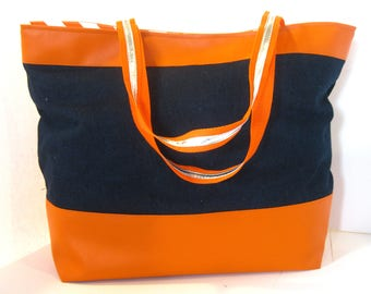 Orange faux leather denim blue purse pocketbook tote bag