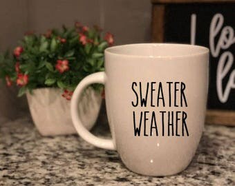 Rae Dunn Inspired Vinyl Decal - Sweater Weather - Winter - Coffee Mug