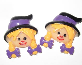 Halloween Witch Cabochons Embellishments Lot of 2
