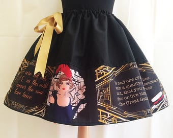 Great Gatsby Skirt, Flapper Skirt, Jay Gatsy, Literature Skirts  By Rooby Lane