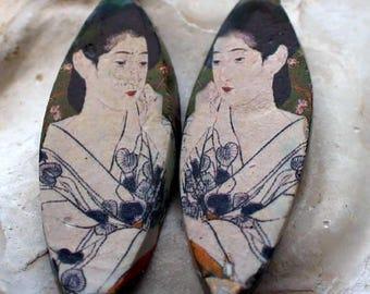Ceramic Decal Goyo Earring Charms #3