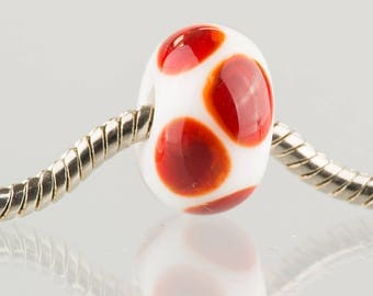 White and Red - Big Hole Charm Bead