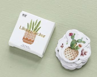 45 Cactus / Cacti Planters Stickers Kawaii