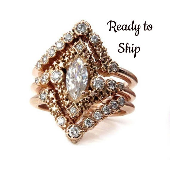 Ready to Ship Size 6 - 8 Stardust Marquise Constellation Engagement Ring Set - with Matching Stacking Diamond Chevrons 14k Rose Gold