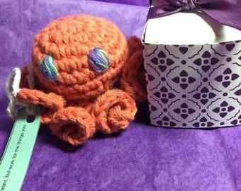 Ready to ship Crochet cotton amigurumi  orange octopus stuffed toy