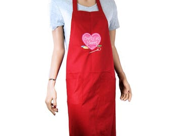 Crafty at Heart - Embroidered Logo Pocket Chef Apron MTCoffinz - Ready to Ship