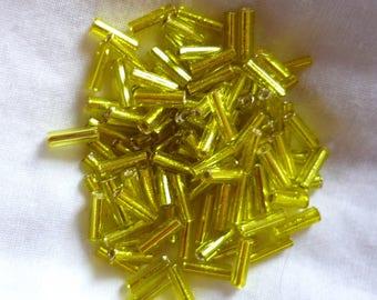 50 tube beads yellow 6mm long
