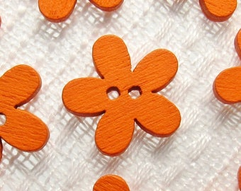 "Orange Daisy: 9/16"" (14mm) Wooden Flower Buttons - Set of 9 New / Unused Matching Buttons"