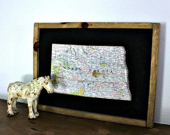 NORTH DAKOTA State Map Wall Decor   Vintage National Geographic State Map   Framed Wall Decor   Small Size Map