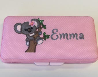 Personalized Baby Girl Koala Wipe Case