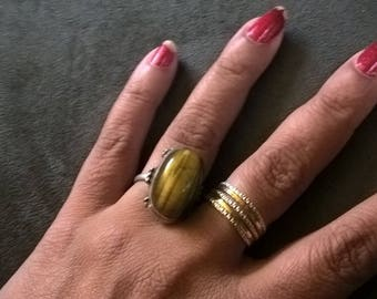 sterling silver tigers eye stone ring