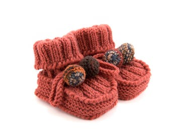 Hand Knitted Baby Booties - Brown, 3 - 6 months