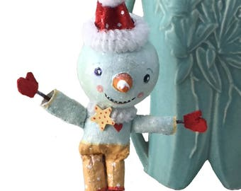 Whimsical Primitive Snowman Mantle Decor, Handmade by Illustrator Suzanne Urban