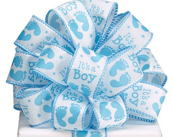 "Ribbon by the yard, 1.5"" It's A Boy Ribbon, Foot Prints, Use for a Baby Gift, Shower, Any Season, Wreath making, Arrangement, Scrap-booking"