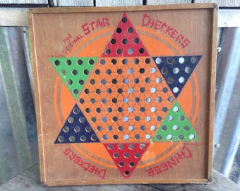 Vintage Game Board, Chinese Checkers, Wood Game Board