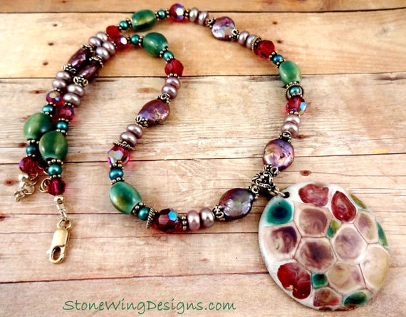 Artisan Enamel, Pearl and Crystal, Lavender Teal Fuchsia, OOAK One of a Kind, Statement Necklace, Big Bold Chunky Necklace, Unique Jewelry