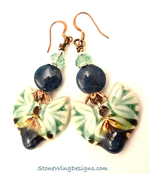Bohemian Artisan Ceramic, Apatite and Green Fluorite Earrings