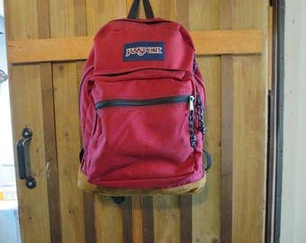 Jansport Leather Bottom Backpack Padded Back EXCELLENT
