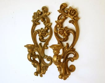 Candle Wall Sconces, Homco Candle Holders, Vintage Gold Sconces, Hollywood Regency Decor