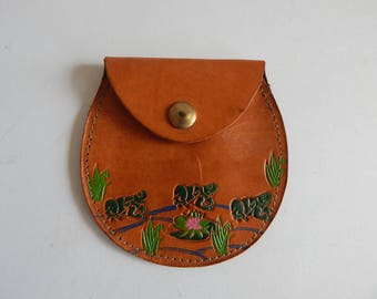Fun Tooled Leather Frog Coin Purse
