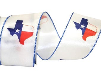 Texas Ribbon, Texas Lone Star State, 2 YARDS, 2 1/2 inch Wide, State Of Texas, Satin Wired and Wide, Blue Trim Edging, Made in USA