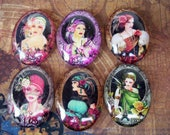 Art Deco Fantasy Women (L17) Jewelry Making Mixed Lot of 6, Digital Image Under Glass Oval Cabochon, Fantasy Artwork