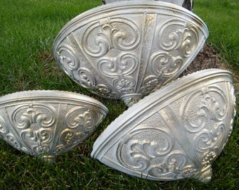 Wall Pockets / Vintage Home Decor / Graduated 3 Sizes / Refinished Gold and White / Ornate Scroll Flourish Pattern / One of a kind set of 3