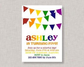Rainbow Invitation, Rainbow Birthday Invitation, Rainbow Party, Printable