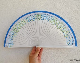 Staggered Petals in Blues and Greens White Hand Fan SIZE OPTIONS Wooden Folding Handheld Fan by Kate Dengra Spain