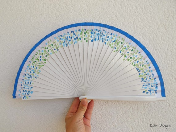 Staggered Petals in Blues and Greens White Hand Fan