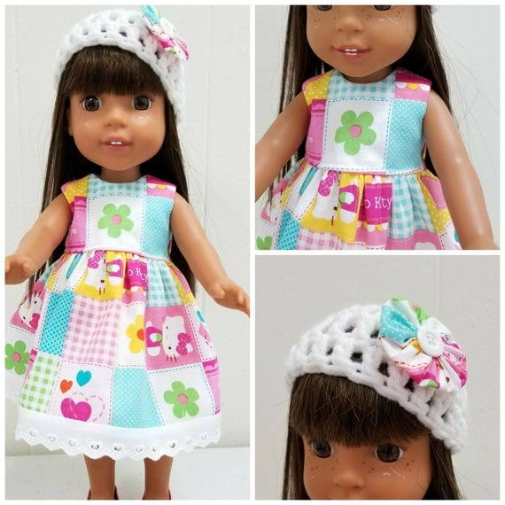 Wellie Wisher Clothes Hello Kitty Dress and Crocheted Hat 14.5 Inch Doll