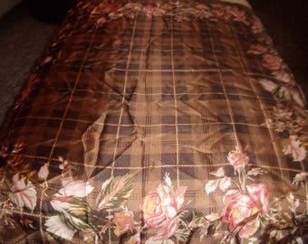 vintage ladies head neck scarf brown peach pink green floral print ralph lauren