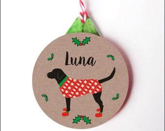 Personalised Dog Christmas Decoration- Black Labrador Christmas Tree Ornament- 3 colours