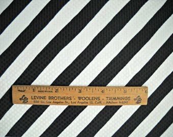 Black and White Diagonal Stripe Woven Texture Fabric, 100 Percent Polyester, Fabric by the Yard