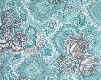 Aqua Rose Challis Fabric, by Arthur R. List Textiles, Polyester/Rayon, Fabric by the Yard