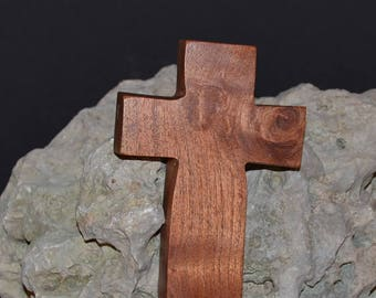 "Wooden Wall Cross; 3.5""x5""x1""; Wood Wall Cross; Wall Cross Decor; Crooked Cross; Mesquite; Handmade;  Free Ground Shipping cc5-1030118"