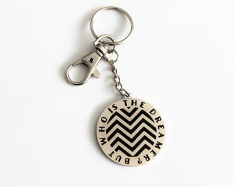 "But Who is the Dreamer Black Silver Keychain with Lobster Claw Clasp // 1.5"" hard enamel, Twin Peaks pop culture"