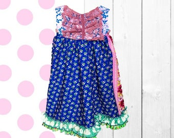 LIMITED, Floral Summer, Top or Dress, Ruffle Love, Lace, Blue, Pink | Sizes 12-18m - 6 | Free Shipping