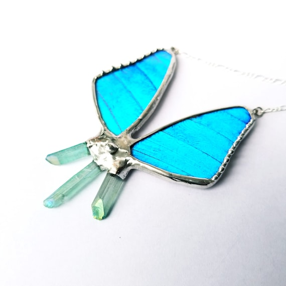 Crystal Jewelry / Butterfly / Real Butterfly / Crystal Necklace / Butterfly Jewelry / Quartz