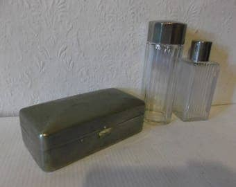 French Antique 1900s Apothecary Soap Box with Perfume and Toiletry Bottles Vintage Metal Soap Box and Bottles