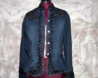 Embroidered Beaded Denim Peplum jacket #KheGreen