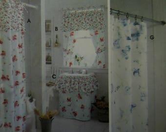 TIE SHOWER CURTAIN Pattern • Simplicity 9153 • Sink Skirt • Bath Accessories • Sewing Patterns • Home Decor Patterns • WhiletheCatNaps