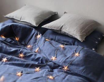 Blue linen duvet cover, Serenity blue linen bedding Queen, King, Twin, Single Full or Double size natural duvet covers